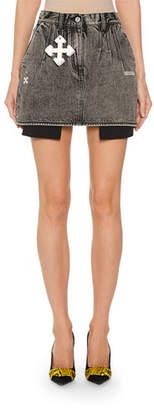 Off-White Denim Exposed-Pocket Mini Skirt