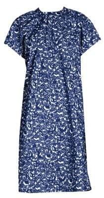 Marni Women's Short Sleeve Micro Pocket Poplin Dress - Blue Micro Print - Size 46 (10)