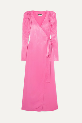 ROTATE - Pleated Satin Wrap Maxi Dress - Pink