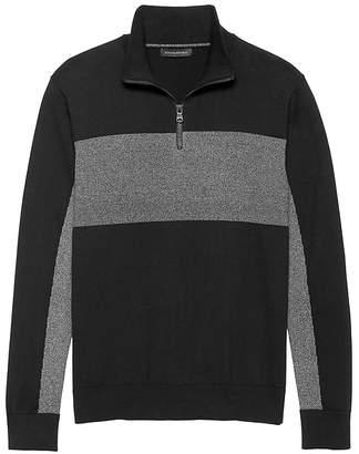 Banana Republic SUPIMA® Cotton Blocked Half-Zip Sweater