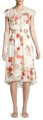 Elie Tahari Floral Smocked Waist Ruffle Dress