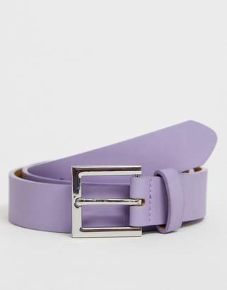 Asos Design DESIGN Wedding faux leather slim belt in purple with silver buckle