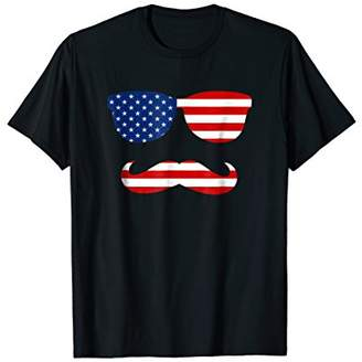 American Flag Sunglasses Mustache Funny 4th Of July T-Shirt