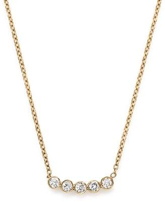 Chicco Zoë 14K Yellow Gold Delicate Five Diamond Necklace, 16""