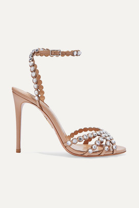 Aquazzura Tequila 105 Crystal-embellished Leather Sandals - Neutral