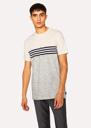 Paul Smith Men's Grey Marl And Cream Stripe T-Shirt