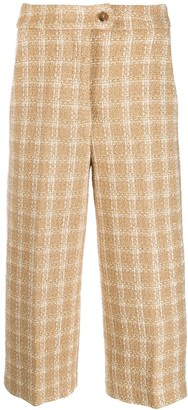 MSGM knitted-style checked trousers
