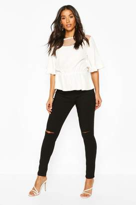 boohoo Maternity Grace Over The Bump Ripped Skinny Jean