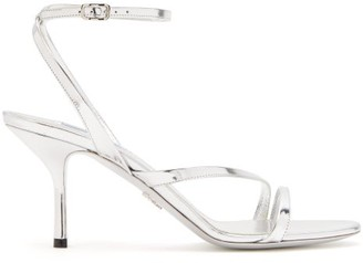 Prada Mirrored Leather Sandals - Womens - Silver