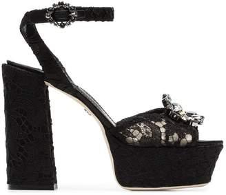 Dolce & Gabbana black Keira 120 lace platform sandals