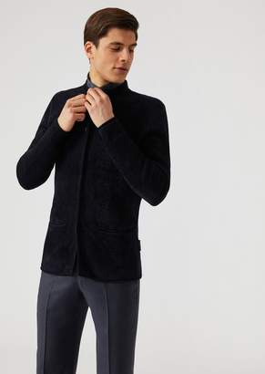 Emporio Armani Single-Breasted Plated Chenille Knit Jacket With Concealed Buttons