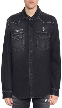Marcelo Burlon County of Milan Stone Wash Cotton Denim Shirt