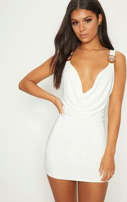 PrettyLittleThing White Lion Buckle Cowl Neck Slinky Bodycon Dress