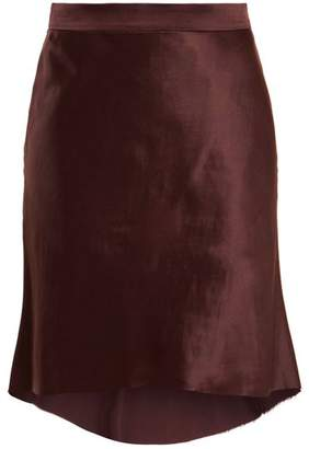 Raey Bias Godet Satin Slip Skirt - Womens - Burgundy
