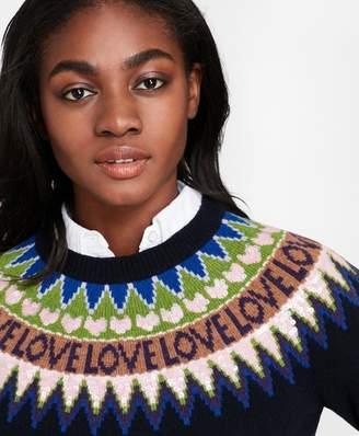 Brooks Brothers Sequined Love Fair Isle Yoke Stretch Merino Wool Sweater