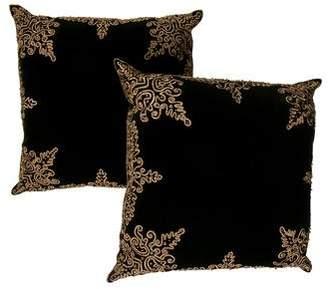 Ankasa Pair of Velvet w/ Gold Damask Throw Pillows