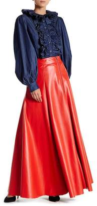 TOV Faux Leather Maxi Skirt $209 thestylecure.com