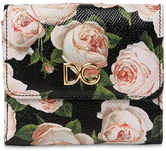 Dolce & Gabbana Floral Print Dauphine Leather Wallet