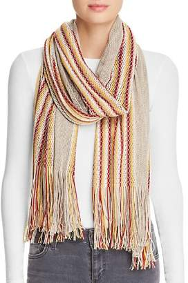 Aqua Striped Border Fringed Scarf - 100% Exclusive