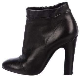 Nina Ricci Leather Round-Toe Ankle Boots