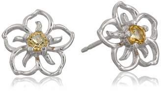 Amazon Collection Sterling Silver Garnet Flower Stud Earrings