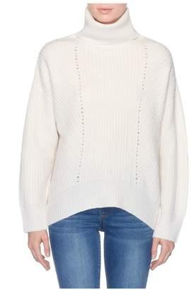 Magaschoni Long Sleeve Turtle Neck Chunky Rib Sweater