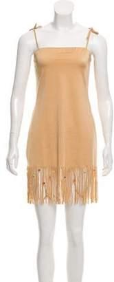 Dolce & Gabbana Fringe Mini Dress Tan Fringe Mini Dress
