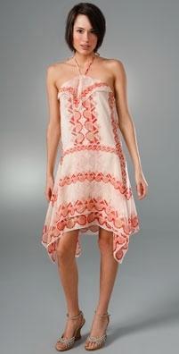Anna Sui Deco Scallop Scarf Print Dress