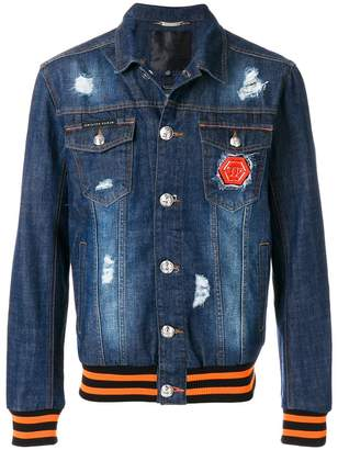Philipp Plein skull print denim jacket