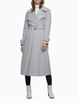 Calvin Klein Wool Blend Light Grey Belted Coat