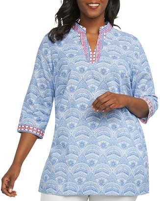 Foxcroft Plus Printed Cotton Tunic