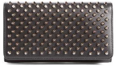 Christian Louboutin  Women's Christian Louboutin 'Macaron' Studded Leather Continental Wallet - Black