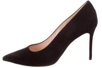 Celine Suede Pointed-Toe Pumps