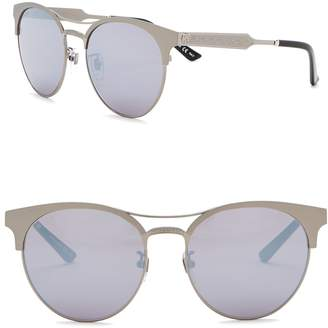 Gucci 56mm Round Browbar Sunglasses