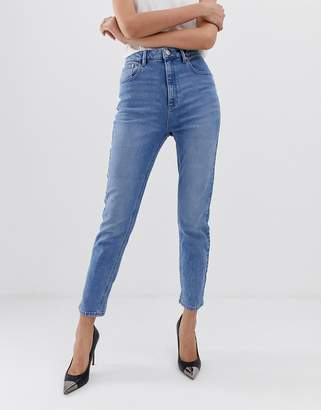 Asos Design DESIGN Farleigh high waist slim mom jeans in light stone wash