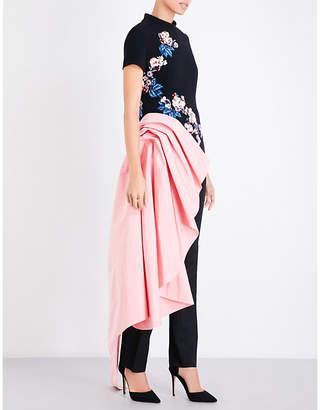 Oscar De La Renta Floral-embellished high neck wool-blend top