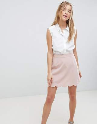 Asos Design DESIGN tailored a-line mini skirt with scallop hem