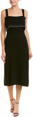 Milly Metallic Tipping Flounce Wool-Blend Midi Dress