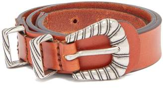 Etro Braided-buckle leather waist-belt