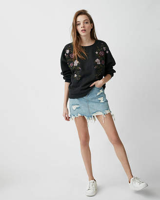 Express Petite One Eleven Floral Embroidered Sweatshirt