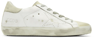 Golden Goose White and Grey Perforated Skate Superstar Sneakers