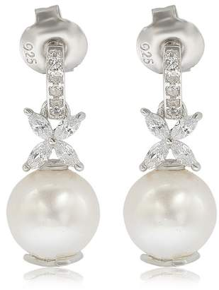 LeVian Suzy Jewelry Sterling Silver 8mm Cultured Freshwater Pearl Created Sapphire Floral Earrings