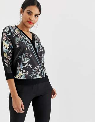 Oasis wrap front sweater in floral print