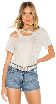 LnA Snakeskin Double Cut Out Tee