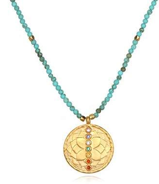 Satya Jewelry Women's Turquoise Gold Chakra Pendant Necklace 18-Inch