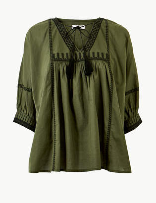 Marks and Spencer Pure Cotton Embroidered 3/4 Sleeve Blouse