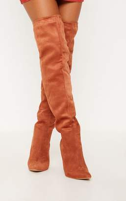 PrettyLittleThing Rust Over The Knee Mid Heel Boot
