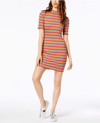 Socialite Striped Mock-Neck Bodycon Dress