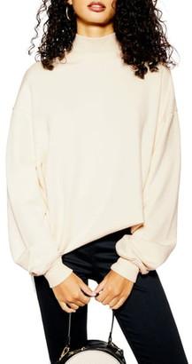 Topshop Oversized Mock Neck Sweatshirt