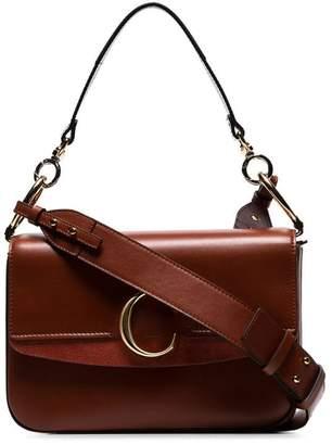 Chloé sepia brown medium C ring leather shoulder bag